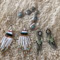 American Eagle Outfitters Jewelry | 3 Pair Of Tribal Earrings | Color: Blue/Silver | Size: Os
