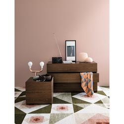 Calligaris City 2 Drawer Nightstand Wood/Glass in Brown, Size 18.8 H x 24.0 W x 16.9 D in | Wayfair CS057603612812816600000