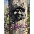 """Concrete Collective Hillbilly Willy Tree Face Art 9"""" x 10"""" Cast Stone Forest Face Tree People Yard Art (Weathered)"""