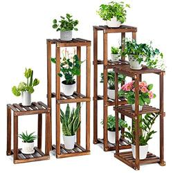 """TOOCA Wood Plant Stand Indoor, 4-Piece-Set 16""""/27""""/35""""/38"""" Flexible Combination Tall Plant Flower Pot Stands, Outdoor Corner Plant Stand, Vertical Plant Shelf Indoor for Living Room/Balcony Garden"""