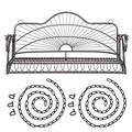 """SSLine Heavy Duty Porch Swing Outdoor Metal Hanging Swing Bench Patio Garden 2-Person Swing Chair Loveseat with Hanging Chains - 47.25"""" L x 22"""" W x 24"""" H"""