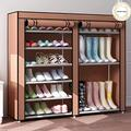 9 Tier Shoe Rack,Double Rows 9 Lattices Large Free Standing Shoe Racks,Shoe Storage Organizer Cabinet with Nonwoven Fabric Dustproof Cover,Space Saving Portable Closet Shoe Cabinet Tower (Brown)