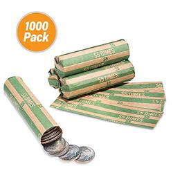 1000 Flat Coin Wrappers, Dimes Coin Holder, Convenient Dime Storage Coin Wrapper - 1000 Pack