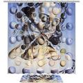 """TIKISMILE Salvador Dali Painting Waterproof Polyester Fabric 70.8""""x70.8""""Shower Curtain Sets with 23.6""""x15.7"""" Non-Slip Rugs Mat, Shower Curtains with 12 Hooks for Bathroom"""