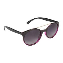Tickled Pink Classic Oversized Sunglasses Polarized Round, Black to Purple Demi Frame/Gradient Smoke Lens