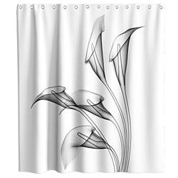 Flower Shower Curtain Gray Calla Lily Spring Flowers Theme Cloth Fabric Bathroom Decor Sets with Hooks Waterproof Washable (70W×70L)