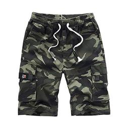 Men's Summer Outdoor Cargo Shorts Relaxed Fit Casual Cargo Durable Shorts with Full Elastic Waist for Fishing