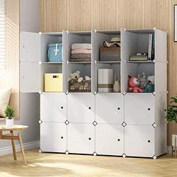 "KOUSI Large Cube Storage -14""x18"" Depth Cube (16 Cubes) Organizer Shelves Clothes Dresser Closet Storage Organizer Cabinet Shelving Bookshelf Toy Organizer, White"