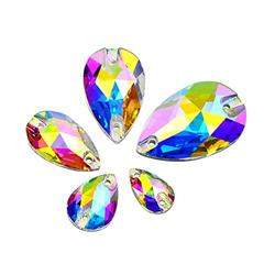 DONGZHOU 60PCS Crystal Glass Sew On Rhinestone AB Faceted Drop Shape Sew On Beads Crystal Sewing Foil Back Glass Rhinestone Crystal Gems Dress Accessories for Costume, Clothes, Garments, DIY Crafts