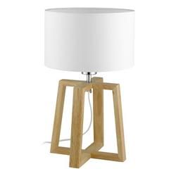 """George Oliver Ayaana 17"""" Tripod Table Lamp Solid Wood/Fabric in Brown/White, Size 17.32 H x 10.25 W x 10.25 D in   Wayfair"""