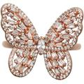 Cubic Zirconia Baguette Butterfly Ring (1-1/2 Ct. T.w.) In Sterling Silver Or 18k Rose Gold Over Sterling Silver - Metallic - Macy's Rings