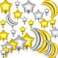 60 Pieces Large Moon Foil Balloons 18/ 36 Inch Moon Balloons 5/ 10/ 18 Inch Silver Gold Foil Star Balloons Mylar Balloons for Party Decoration Baby Shower Birthday