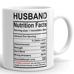 Valentines Day Gifts for Husband from Wife - Husband Nutrition Facts Mug - Best Husband Gift Ever - Funny Gag Prank Ceramic Coffee Mug - Anniversary Wedding Gifts for Husband Him - 11 Fl. Oz White