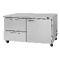 """Turbo Air PUR-60-D2R-N 60 1/4"""" Undercounter Refrigerator w/ (2) Sections - (1) Door & (2) Drawers, 115v"""