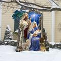 "Designocracy Holy Night Nativity Family Home & Outdoor Decor Lawn Art/Figurine, Wood in Blue/Gray/White, Size 28""H X 32""W X 16""D 