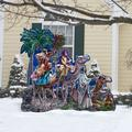 "Designocracy The Magic of Three Kings Home & Outdoor Decor Lawn Art/Figurine, Wood in Blue, Size 32""H X 28""W X 16""D 