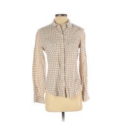 Nike Long Sleeve Button Down Shirt: Tan Print Tops - Size Small