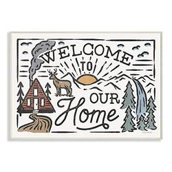 Stupell Industries Welcome to Our Home Greeting Cabin Forest Words, Designed by Laura Marshall Art, 13 x 19, Wall Plaque
