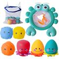 Welene Bath Toys Frog Bathtub Toys Set with Squeeze Toys and Strong Suction Cup, Fun Gifts at Bathroom for Toddlers, Kids, Boys, Girls (Bath Toy Organizer Included)