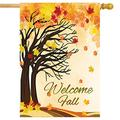 Pfrewn Welcome Fall Autumn Tree House Flag 28 x 40 Double Sided Blowing Wind Leaves Thanksgiving Primitive Garden Yard Flags Outdoor Indoor Maple Leaf Trees Banner Farmhouse Country Decor