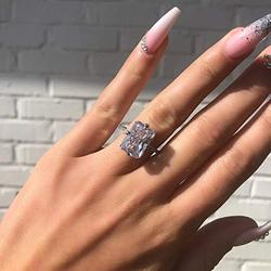 Xiaodou 18k White Gold CZ Engagement Rings Promise Ring for Women Cubic Zirconia Promise Halo Engagement Ring Solitaire Engagement Wedding Rings (9)