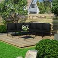 vidaXL 6 Piece Garden Lounge Set with Cushions Black PVC