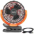 Klein Tools PJSFM1 Battery Operated Rechargeable Fan with USB-C Charging Cord and Multiple Mounting Options Perfect for the Jobsite