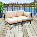 PatioFestival 2-Seat Conversation Set Patio Sectional Sofa Set 2 PCS Outdoor Metal Furniture with Cushioned Seat for Garden,Lawn,Pool
