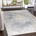 "Woronoco 5' x 7'6"" Rectangle Updated Traditional 70% Viscose/30% Acrylic Sky Blue/Dark Blue/Taupe/Medium Gray/Light Gray/White/Bright Yellow Area Rug - Hauteloom"