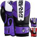 Farabi Sports Boxing Gloves Training Punching Bag Kick Boxing Muay Thai Bag Gloves (Purple/Black, 12-oz)