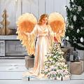 "Designocracy Woodland Angel Home & Outdoor Decor Lawn Art/Figurine, Wood in Gold/White, Size 26""H X 32""W X 16""D 