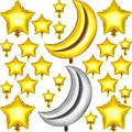 48 Pieces Large Moon Foil Balloons (36 Inch) Foil Star Balloons (18, 10, 5 Inch), Silver Gold Moon Mylar Balloons Star Shaped Balloon for Party Decoration Baby Shower Birthday