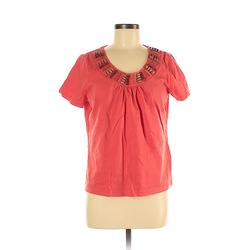 Onque Casuals Short Sleeve Top Red Solid Scoop Neck Tops - Used - Size Medium