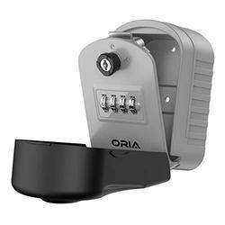 ORIA Combination Safe Lock Box, 4 Digit Key Storage Lock Box, Wall Mounted Security Lock Box with 1 Key, Resettable Code, 5 Key Capacity