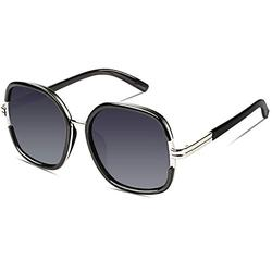 DUCO Women Shades Classic Oversized Polarized Sunglasses 100% UV Protection Eyewear Glasses DC3207 (Black Frame Black Temple)