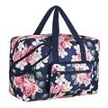 Travel Foldable Waterproof Duffel Bag - Lightweight Carry Storage Luggage Tote Duffel Bag(Blue Rose)