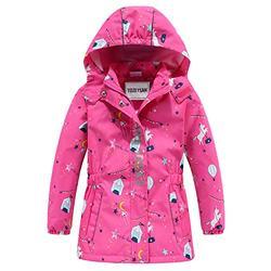 TOZEYSAN Girls' Fleece Lined Waterproof Jacket Lightweight Windbreaker Raincoat (Pink, 6T)