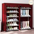 9 Tier Shoe Rack,Double Rows 9 Lattices Large Free Standing Shoe Racks,Shoe Storage Organizer Cabinet with Nonwoven Fabric Dustproof Cover,Space Saving Portable Closet Shoe Cabinet Tower (Red)