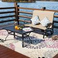 Patio Festival Patio Outdoor Glider Seat,Patio Bistro Furniture Sets with Garden Rocking Seating for 2 Person,Loveseat and Sofa Table for Outdoor Backyard,Beside Pool,Lawn (2PC, Beige)