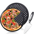 Pizza Crisper Set of 3, Includes 2 Piece Perforated Pizza Pan 13 Inch Carbon Steel Non Stick Pizza Crisper Pan with Holes Round Tray Baking Pan and 1 Piece Pizza Cake Cutter Slicer for Home Restaurant