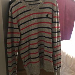 American Eagle Outfitters Sweaters | American Eagle Blue And Red Striped Grey Sweater | Color: Gray/Red | Size: L