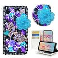 STENES Bling Wallet Phone Case Compatible with LG Stylo 6 - Stylish - 3D Handmade Rose Butterfly Flowers Design Magnetic Wallet Stand Leather Cover Case - Violet