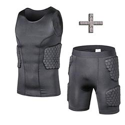 TOUYR Men's Padded Compression Shirt and Pants Training Vest Sleeveless T-Shirt and Short Set Ribs Back Thighs and Buttocks Elbow Knee Protector - Football Soccer Basketball Hockey Protective Gear