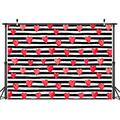 7X5FT Valentines Day Photography Background Valentines Day Party Decoration Black and White Striped Red Heart Background Studio Photography Props CP-239-7X5FT