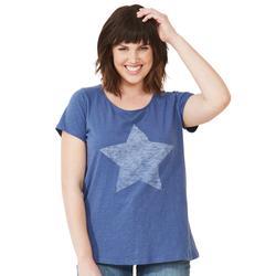 Plus Size Women's Love Ellos Tee by ellos in Royal Navy Star (Size 5X)