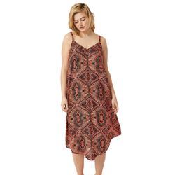 Plus Size Women's Bali Point Hem Dress by ellos in Hot Coral Multi Print (Size 5X)