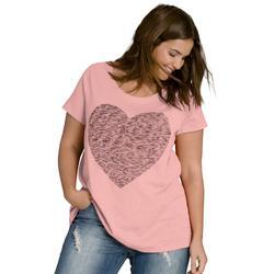 Plus Size Women's Love Ellos Tee by ellos in Rose Blush Heart (Size L)