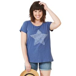 Plus Size Women's Love Ellos Tee by ellos in Royal Navy Star (Size 4X)