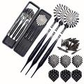 ROOBEEO Soft Tip Darts Set for Electronic Dart Board 22g Plastic Tip Darts Set with Brass Barrels&Aluminum Shafts, 6 Flights 3 Spare Plastic Dart Shaft 20 Soft Tips Portable Case (22g-Silver&Black)