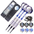 ROOBEEO Soft Tip Darts Set for Electronic Dart Board 18/22g Plastic Tip Darts Set with Brass Barrels&Aluminum Shafts, 6 Flights 3 Spare Plastic Dart Shaft 20 Soft Tips Portable Case (18g-Silver&Blue)